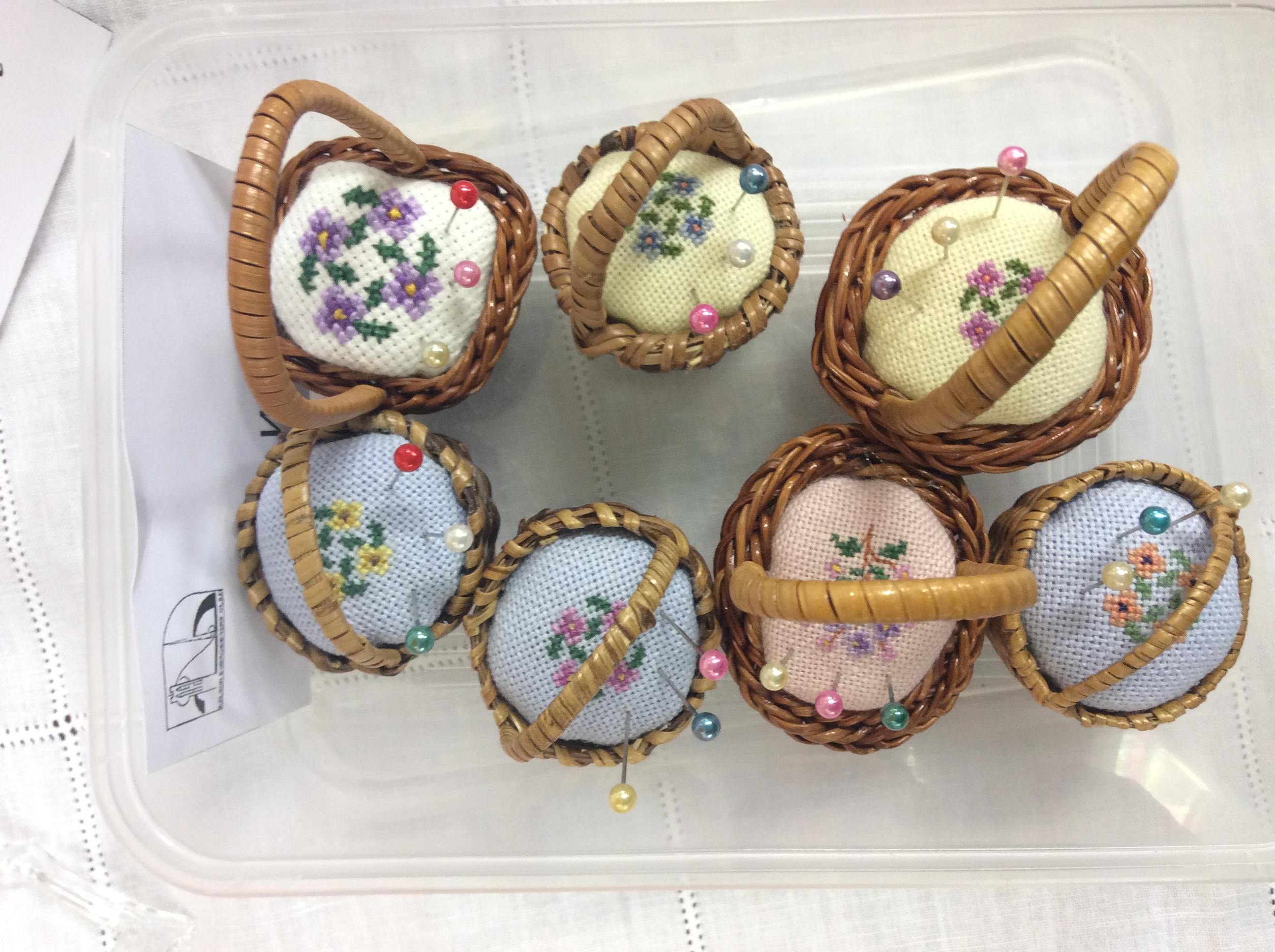 Floral pincushion baskets